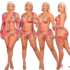 Four piece printed beach resort swimsuit