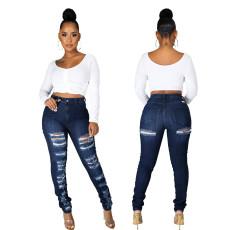 Fashion slim high waist holed jeans Leggings