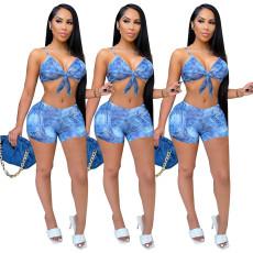 Fashion suspender shorts two piece denim print