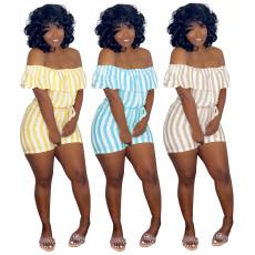 Sexy striped print strap Jumpsuit