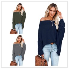 Fashion solid color long sleeve Knitted Top