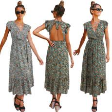 V-neck short sleeve print high waist dress