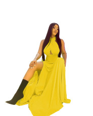 One line dress with slit strap and open back
