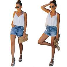 High waist denim shorts with loose edges
