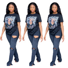 Letterhead print short sleeve fashion T-shirt