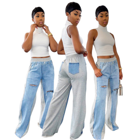 Stitching casual straight jeans pants