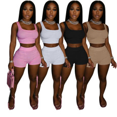 Two piece suit of sexy square neck top and shorts