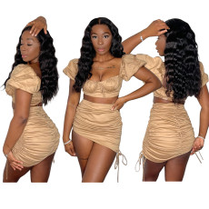 Short sleeve open navel pleated skirt two piece set
