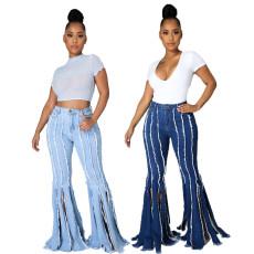 Sexy fashion tassel stretch denim flared pants