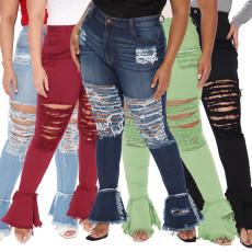 Fashion hole stitching micro flared pants