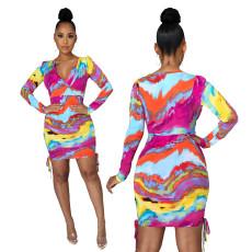 Sexy fashion tie dye printed V-neck dress