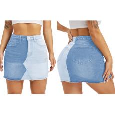 Fashion Color Matching Bag hip half denim skirt