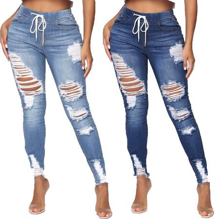 Fashion pierced slim Stretch Jeans