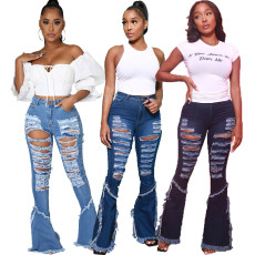 Fashion stretch jeans with hole stitching