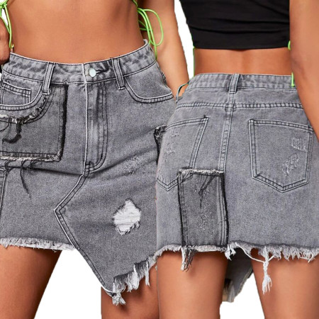 Fashionable jeans skirt with holes and buttocks