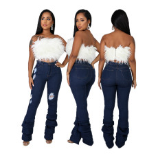 Fashion hole stretch denim pants
