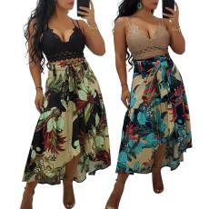 Leaf print skirt with belt
