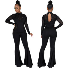 Sexy fashion lace long sleeve white collar Jumpsuit