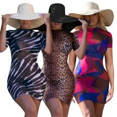 Sexy Screen Print Beach Short Sleeve Dress