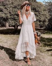 Fashion V-neck slim Floral Dress