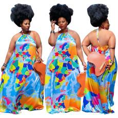 Fashion sleeveless Halter open back loose dress