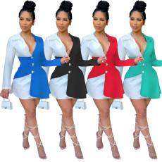 Fashion color matching button shirt dress