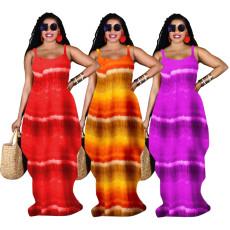 Print loose strap dress