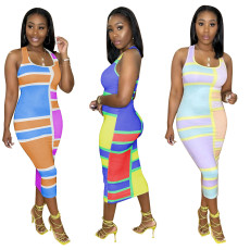Fashion positioning stitching Printed Dress