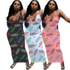 Fashion sexy sleeveless letter print dress