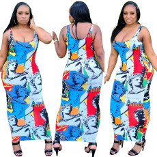 Digital print sexy hollow out suspender dress