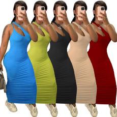 Fashion pleated narrow wide shoulder dress