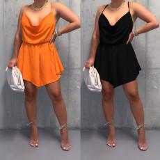 Fashion solid open back bandage dress