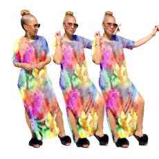 Fashion split tie dyed dress