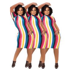 Fashion casual color stripe dress