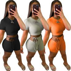 Fashion short sleeve shorts two piece set