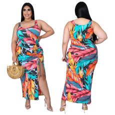 Fashion print pleated split dress