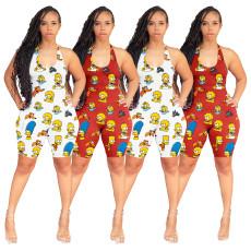 Fashion casual cartoon printed Jumpsuit