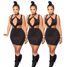 High waist cut out cross neck dress