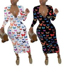 Fashion butterfly print dress