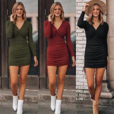V-neck sexy slim dress