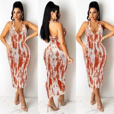 Fashion print open back sexy dress