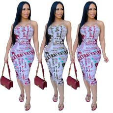 Bandage waist letter print dress