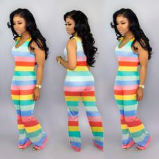Fashionable color striped Jumpsuit
