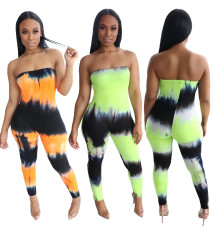 Open back tight tie dye printed Jumpsuit