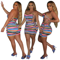 Fashion striped bandage dress