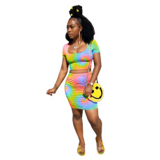 Two piece suit of slim tie dyed skirt