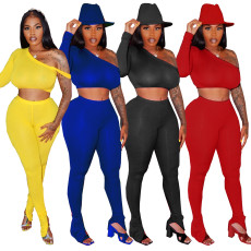 Fashion solid color sports two piece set