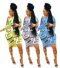 Fashion casual slant shoulder loose print dress