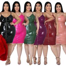 Sexy V-neck Pu suspender dress