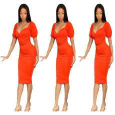 Low cut open back short sleeve Pleated Dress